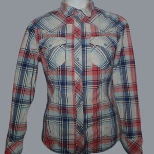 True Religion Women's Plaid Long Sleeve Shirt Med